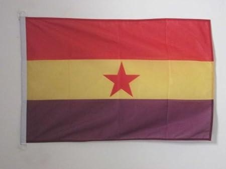 AZ FLAG Bandera ESPAÑA Republicana Estrella ROJA 90x60cm Uso Exterior - Bandera DE LA Republica ESPAÑOLA 60 x 90 cm Anillos: Amazon.es: Hogar