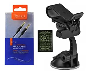 BLU Tank 4.5 -- Car Phone (GPS - MP3) Holder Windshield Gooseneck Air Vent Suction Mount + 3FT OEM REIKO GOLD PLATED PREMIUM 3.5 mm CAR - Phone - Home - Male to Male Stereo Audio Auxiliary (Aux) Cable (PLUS FREE SCALAR ANTI RADIATION CHIP) (BUNDLE PACK KIT)