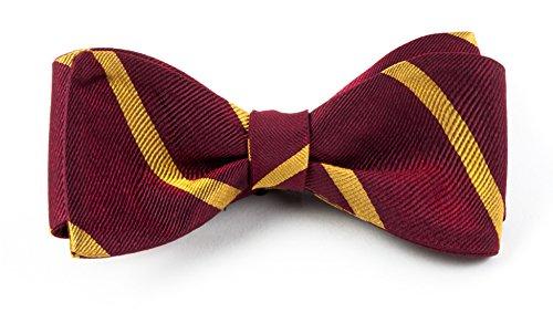 Silk Stripe Burgundy Self Tie Bow Tie