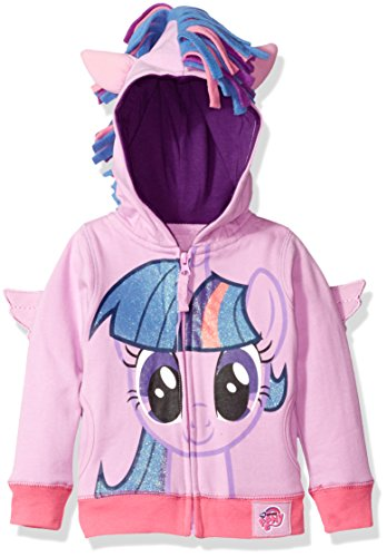 My Little Pony Little Girls' Toddler Mlp Rarity Fleece W Fringe and 3d Wg, Purple/Multi, -