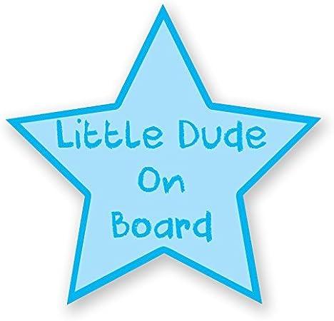 LITTLE DUDE ON BOARD BLUE STAR CHILD SAFETY VINYL CAR STICKER