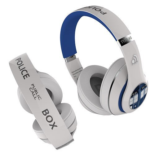 Doctor Who TARDIS Wired Headphones with MIC and Controls (White) Best Doctor Who gift in the Universe by FAMETEK