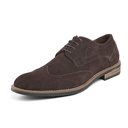 Brown Leather Suede Mens (Bruno Marc Men's URBAN-03 Dark Brown Suede Leather Lace Up Oxfords Shoes - 9 M US)