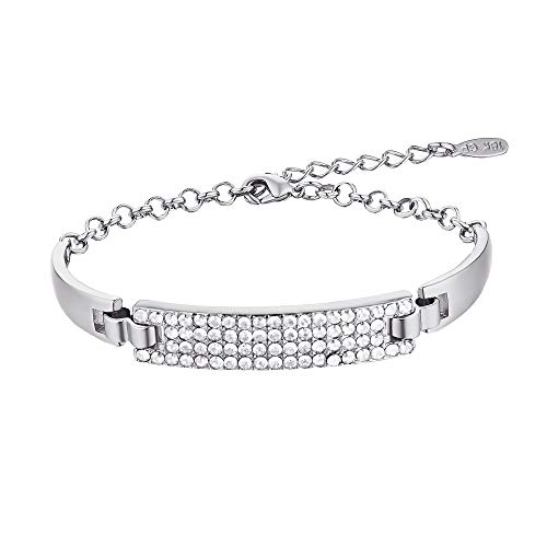 Barzel 18K Gold & Sparkle Swarovski Elements Bling Crystal Bracelet (Silver)