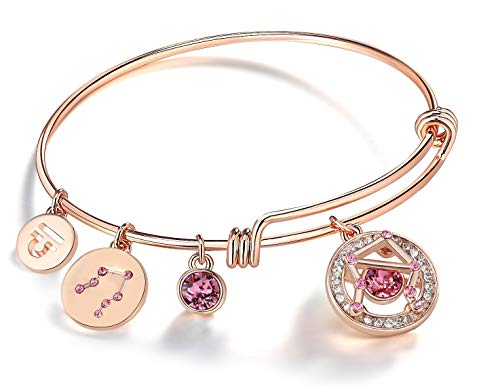 Leafael Superstar Libra Zodiac Expandable Bangle Bracelet Made with Swarovski Crystals Horoscope Constellation September October Birthstone Rosaline Pink Jewelry, Rose Gold Plated, 7