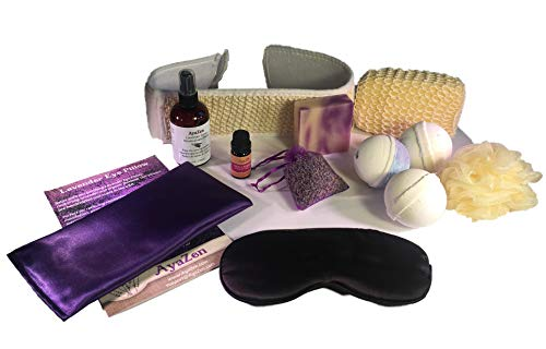AyaZen Lavender Spa Bath and Body Gift Set-Lavender Eye Pillow, Silk Eye Mask, 3 Large Bath Bombs, Artisan Soap, Lavender Essential Oil, Lavender Room & Linen Spray, Lavender Sachet Made ()