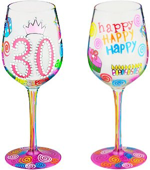 30 Another Year- Bottom's Up Wine Glass -