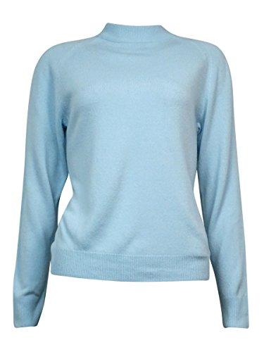 Karen Scott Womens Raglan Sleeves Back Zip Mock Turtleneck Sweater Blue L
