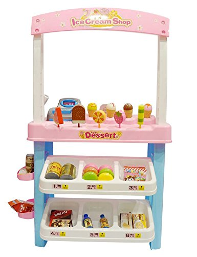 AMPERSAND SHOPS Deluxe Ice Cream and Food Shop Stand Playset with Shelves and Various Treats