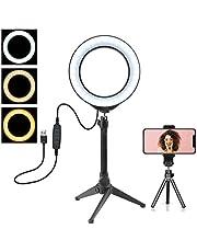 """LED Ring Light 6.2""""16cm con supporto per treppiede per video e trucco YouTube con supporto per telefono cellulare Lampada da tavolo a LED con 3 modalità di luce e 10 livelli di luminosità"""