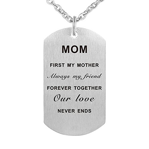 Kisseason Mother's Day Birthday Gift Jewelry Pendant Necklace Dog Tag Keychain for Mother Mom from Son Daughter ()