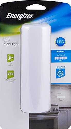 Energizer 12991 LED Night Light, Up to 100 Lumens, Plug-In, Light Sensing, Auto/On/Off, Ideal for Bedroom, Bathroom, Hallway, Stairs, Kitchen, Pantry, Closet and Laundry