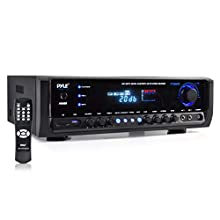 Wireless Bluetooth Power Amplifier System 300W 4 Channel Home Theater Audio Stereo Sound Receiver Box Entertainment w/ USB, RCA, 3.5mm AUX, LED, Remote for Speaker, PA, Studio Use Pyle PT390BTU