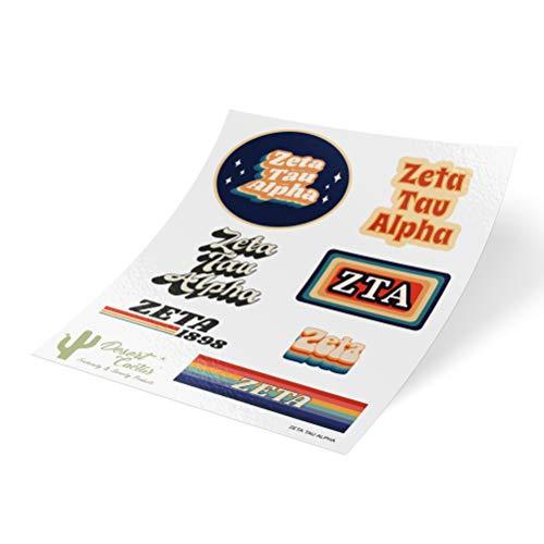 Zeta Tau Alpha 70's Themed Sticker Sheet Decal Laptop Water Bottle Car Zeta (Full Sheet - - Zeta Alpha Tau Merchandise