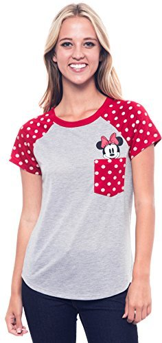 T-shirt Mouse - Disney Junior Fashion Contrast Shoulder Top Minnie Pocket, Gray with Red (Large, Grey)
