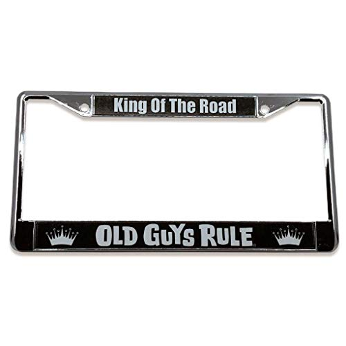 OLD GUYS RULE License Plate Frame - King of The Road - Custom Holder for Men - Chrome Metal Cover, Pre-Drilled Mounting - Rule Plates License