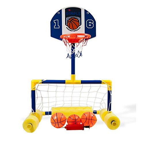 Dimple Multi-Sport Floating Reinforced Basketball and Soccer Goal Pool Set, with 2 Nets, 3 Small Inflatable Balls and Pump, Tons of Fun -