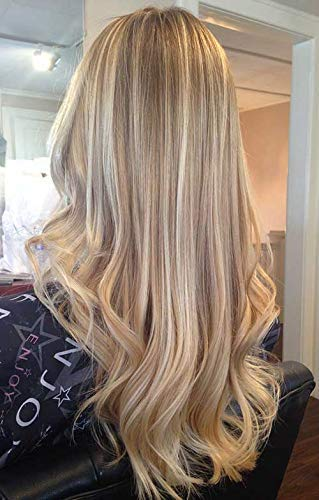 Easyouth Hair Topper Extensions 18inch Ash Blonde Highlight With Yellow Blonde Color Base Size 13x8CM Hair Topper For Women Clip In Mono Hair Topper