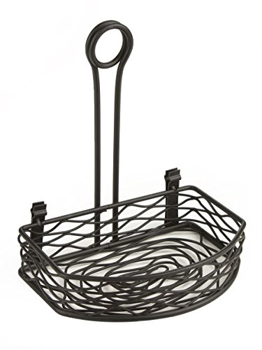 Displays2go Wrought Iron Flat Side Birds Nest Design Tabletop Condiment Stand with Menu Clip, Set of 10
