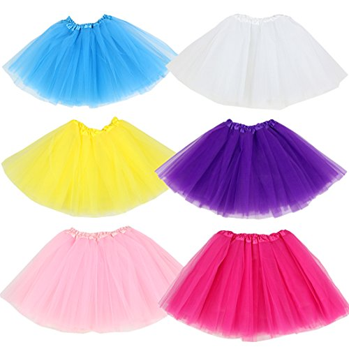 (kilofly 6pc Girls Ballet Tutu Kids Birthday Princess Party Favor Dress Skirt Set)