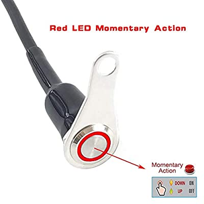 Universal Stainless Steel LED Motorcycle Switch Horn Handlebar Adjustable Mount Waterproof Switches Button DC12V momentary Actions Cycling retail (A-Red-M): Industrial & Scientific