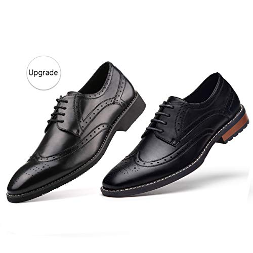 Gm Golaiman Mens Leather Oxford Dress Shoes Formal Wing Tip Lace Up