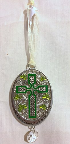 New Ganz Celtic Cross Ornament with Prism /Good Health Good Luck and Happiness ()