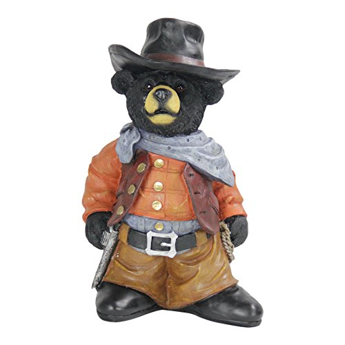 Exhart Cowboy Bear Statue - Hand-Painted Bear Figurine in Cowboy Outfit, Cowboy Bear Resin Statue, Perfect as Country Rustic Indoor and Outdoor Decorations, 10.6