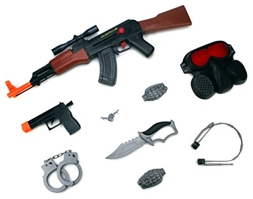 Combat Fire Army Squad 9 Piece Children Kid's Pretend Play Friction Powered Toy Gun Playset w/ Rifle, Accessories