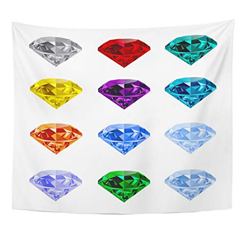 Emvency Tapestry Shining Jewels White and Jewelry Colorful Gems Gemstones Diamond Emerald Ruby Topaz Sapphire Home Decor Wall Hanging for Living Room Bedroom Dorm 50x60 Inches