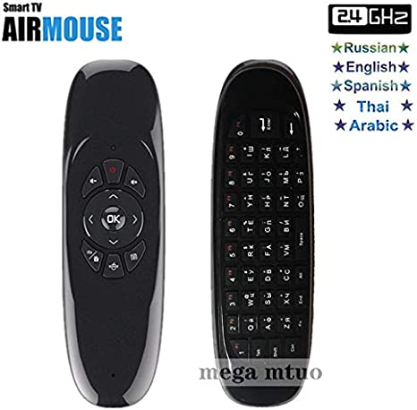 Calvas C120 2.4G air mouse Rechargeable Wireless remote control Keyboard for Android TV Box Computer Russian English Arabic Spanish Color: Spanish Keyboard