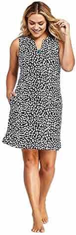 698a50f76c Lands' End Women's Plus Size Cotton Jersey Sleeveless Tunic Dress Swim Cover -up Print