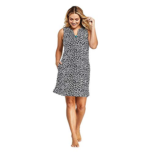 lus Size Cotton Jersey Sleeveless Tunic Dress Swim Cover-up Print, 2X, Black Snow Leopard ()