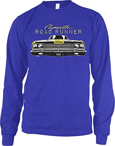 Amdesco Men's Plymouth Road Runner Officially Licensed Long Sleeve Shirt, Royal Blue Large ()