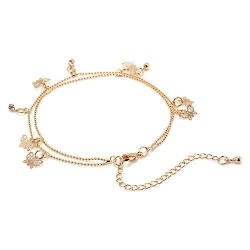 Jeweled Initial Bracelet - Charm Gold Butterfly Ankle Chain Anklet Bracelet Foot Jewelry Sandal Beach Women