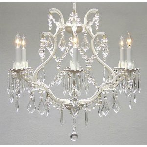 """White Wrought Iron Crystal Chandelier Lighting *free Shipping!* H 19"""" W 20"""""""