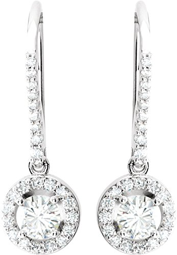 Charles and Clovard 14k White Gold Forever Brilliant Moissanite and Diamond Halo Dangle Earrings by The Men's Jewelry Store (for HER)