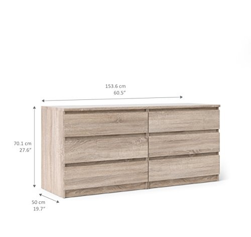 Tvilum 70296cj Scottsdale 6 Drawer Double Dresser, Truffle
