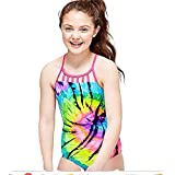 Justice Girls Swimwear Tie Dye one Piece Super neon Pink