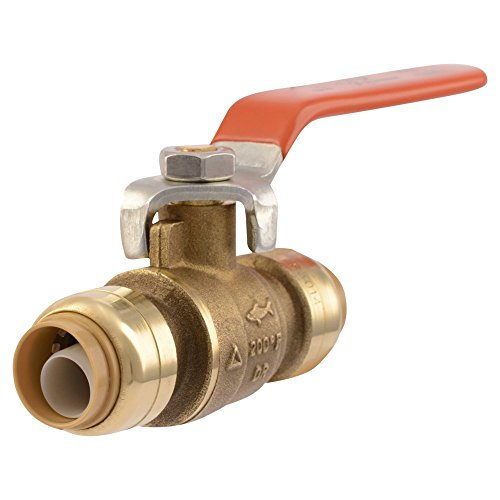 - SharkBite 22222-0000LFA Ball Valve 1/2 Inch x 1/2 Inch, Water Valve Shut Off, Push-to-Connect, PEX, Copper, CPVC, PE-RT (Renewed)