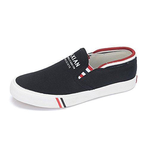 Flake Rain Women's Stripes Canvas Sneaker Simple Casual shoes(38 M EU/7.5 B(M) US, Black) (In Edmond Flower Shops)