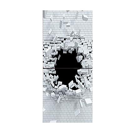 SODIAL 3D Etiqueta engomada del Arte de la Pared PVC Etiqueta autoadhesiva Puerta Nevera DIY Mural