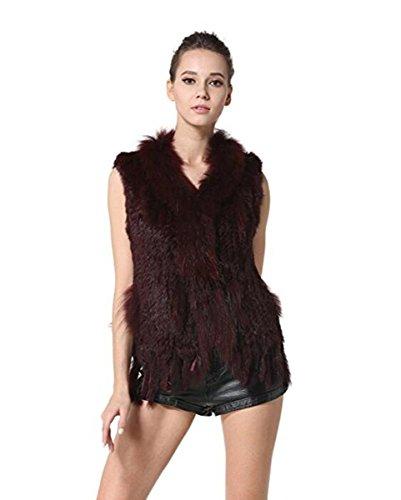 MEEFUR Rabbit Fur Vests Raccoon Fur Collar Women's Winter Autumn Gilets Real Fur Knitted Waistcoat (US6, WineRed) - Rabbit Fur Collar Jacket