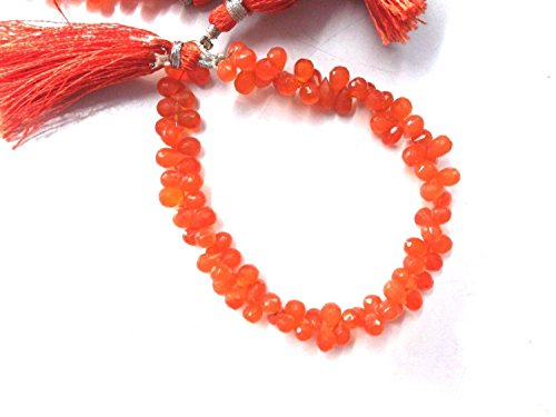 KIRANBEADS - 1 Strand Natural Carnelian Faceted Drop Briolette - Briolette Beads Measure 5X7-6X8mm - 8 Inches Long Faceted ()