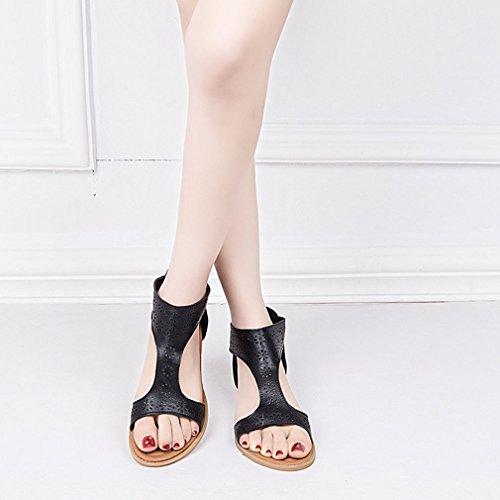 Estive Estive Piatto Sandali Toe Spiaggia scarpe Gladiator scarpe Scarpe Romani Casual Da Sandali Donna Nero 43 Moda Sandali Wuxi Scarpe 36 Peep Piattos Cerniera Tw5Xt0
