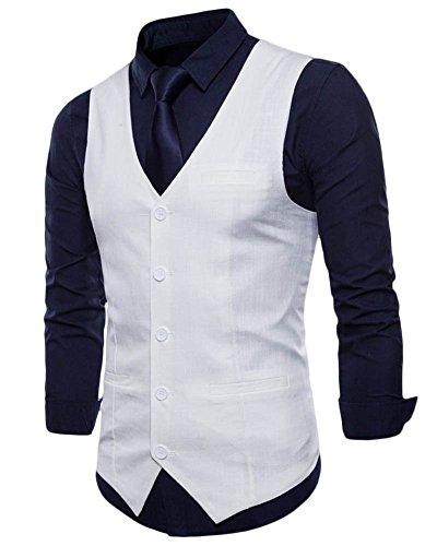 Sans Costume Casual Blanc Business Pour Veste Manche Gilet Homme De Mariage I84qwZnx15