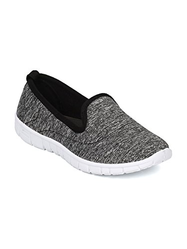 Alrisco Women Walking Jogging Running Sneaker -Fabric Heathered Slip On Cushioned Memory Foam Padding – HA54 by Black (Size: 6.0) For Sale