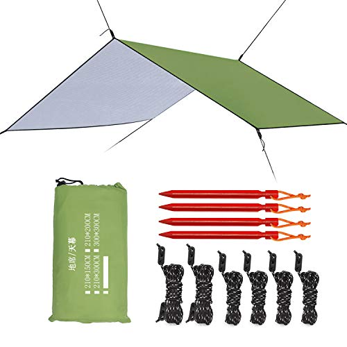 Esup 10 x 10 ft Hammock Rain Fly Waterproof Tent Tarp, 210T Ripstop Nylon Material, Camping, Hiking Essential Gear, (Green)