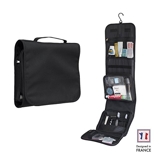 Travel Hanging Toiletry Bag by Walden. Folding, compact toiletry kit for men/women/kids with sturdy hook and zip+detachable transparent compartment. Fits ladies make up, travel essentials/accessories.