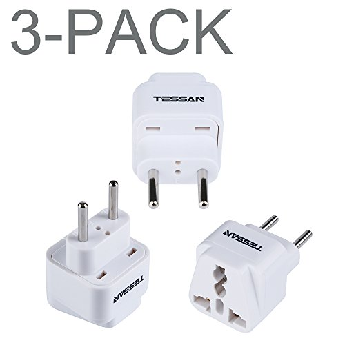 TESSAN Grounded Universal Travel Power Strip Plug Adapter USA to the more of Europe Travel Prong Converter Adapter Plug Kit for the more of Europe(Type C)- 3 Pack(WHITE)